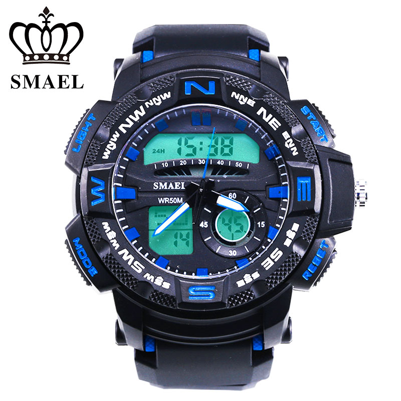 SMAEL Sports Quartz Watches Men Multifunction LED Digital Military Watch Luxury 50m Waterproof Outdoor Man Wristwatch Gift Clock weide new men quartz casual watch army military sports watch waterproof back light men watches alarm clock multiple time zone