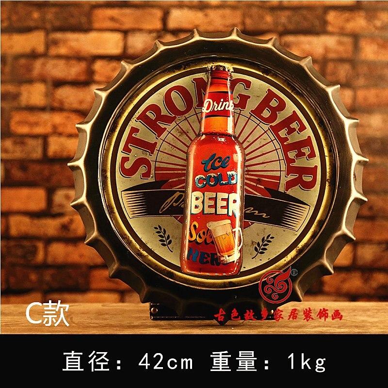 Bière grande HD bière couverture étain signe Logo Plaque Vintage métal peinture mur autocollant fer signe Bar KTV magasin décoratif 42X42 CM