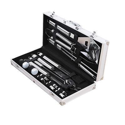 18 Uds de acero inoxidable BBQ herramientas populares accesorios Grill Brush agarre duradero