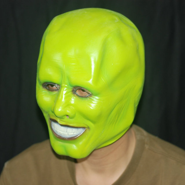 Halloween masks The Mask of Jim Carrey Natural latex head mask-in ...