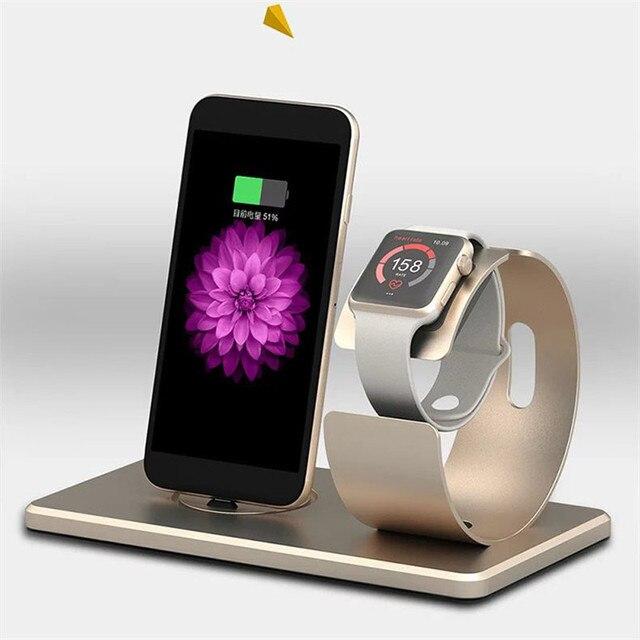 Роскошный Алюминиевый Зарядки Док Зарядное Устройство Стенд для iphone 7 7 Plus 6 6 s 6 Плюс 5 5S SE для Apple Watch Зарядная Станция