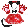 Halloween Party Kids Baby Girl Minnie Skirt Headband Bow Tail Paw Costume Set PC080