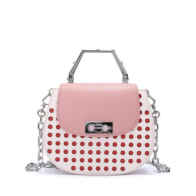 2019 Fashion Women Geniune Leather Handbags Cow Leather Bags Party Bag Casual Tote Fashion Chains Rivet Handbag