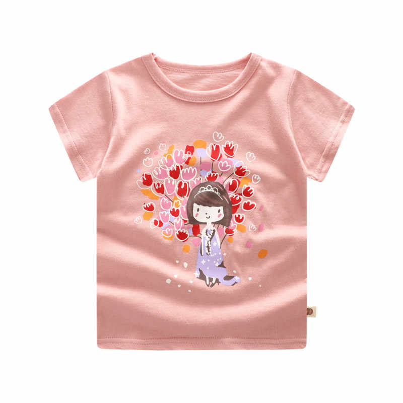 Casual Fashion Summer Toddler Baby Boys Cotton Style Short Sleeve O-Neck Pullover Cartoon Print T-Shirts Toddler Girl Shirts