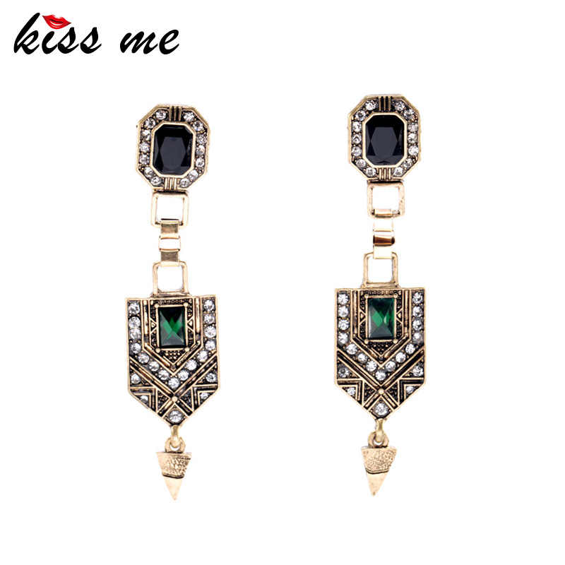 KISS ME Vintage Jewelry Women New Green Crystal Cone Ear Pendants Long Drop Earrings Factory Wholesale