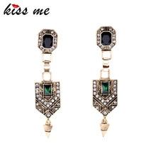 KISS ME Vintage Jewelry Women New Green Crystal Cone Ear Pendants Long Drop Earrings Factory Wholesale