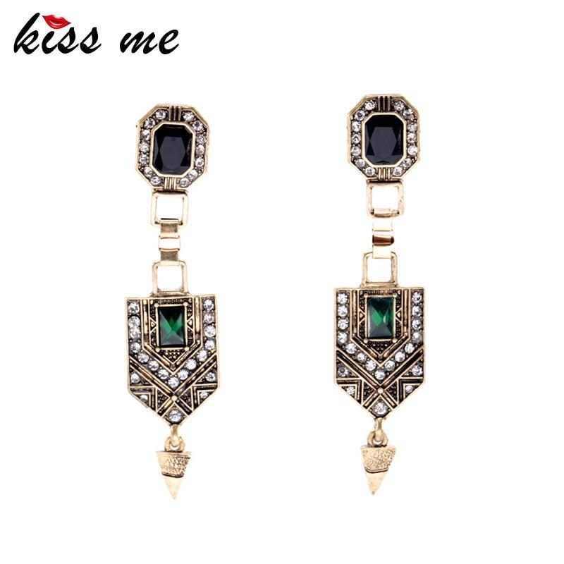 KISS ME Vintage Jewelry Women New Green Crystal Cone Ear Pendants Long Drop Earrings Factory Wholesale(China)