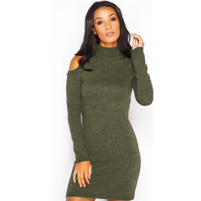 Autumn Women knitted Sweater Dress 2018 Winter Casual Sexy Elegant Party Bandage Bodycon Strapless Long Sleeve Pencil Dress L307 shining beauty top quality women sexy long sleeve beading black bandage dress 2017 knitted elegant designer dress