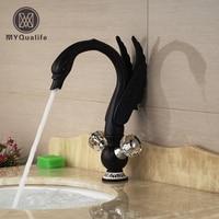 Creative Brass Cristal Handles Bathroom Basin Sink Faucet Deck Mount Swan Vessel Sink Mixer Tap Oil Rubbed Bronze Finish