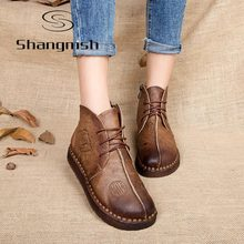 Shangmsh 2017 Retro Boots Handmade Ankle Boots Flat Boots Real Genuine Leather Shoes Botines Mujer Women Shoes Plus Size 11 12
