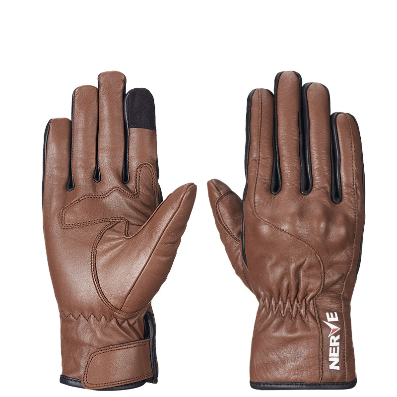 Genuine Leather Motorcycle Glove Winter Warm full Finger Cowhide Racing Gloves Motorbike Touch Screen Nerve