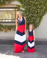 Hot Sale Mother And Daughter Clothes Straight Vestidos Madre E Hija Striped Ankle Length Children Dress