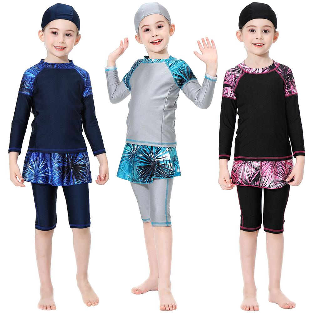 Muslim Swimwear Girls Kids Full Cover Swimsuit Islamic Modest Beachwear Burkini