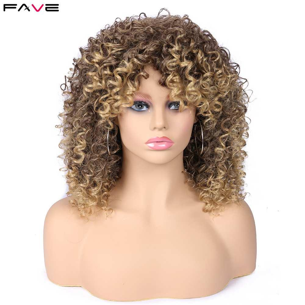 FAVE Afro Kinky Curly Wig With Bangs Synthetic Wigs Heat Resistant Fiber Ombre Dark Light Brown Gradient Color For Black Women