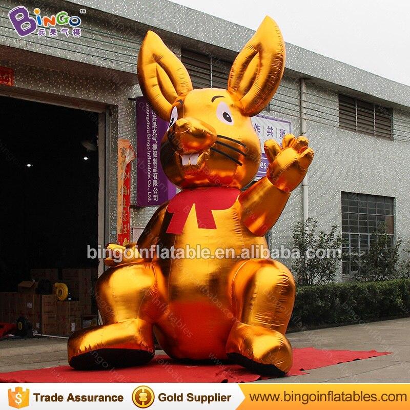 Декоративные 5 метров высокий большой надувной Золотой Кролик индивидуальные цифровой печати гигантский надувной заяц распродажа игрушка ... - 3