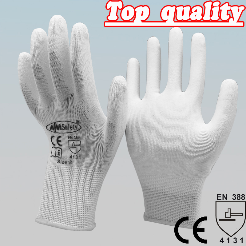 NMSAFETY 12 pairs Lightness comfortable white polyester/nylon cheap work gloves,working industrial ESD Anti-Static gloves