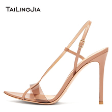 Elegant Nude High Heels for Women Heeled Strappy Sandals for Ladies Open Pointed Toe Stiletto Heel Sandal Summer Shoes 2019 цены онлайн