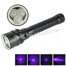 Ultraviolet 395-400nm Diving Light 3x XPE Linterna LED UV Flashlight Purple Light Waterproof Underwater Torch by 2x18650 Battery