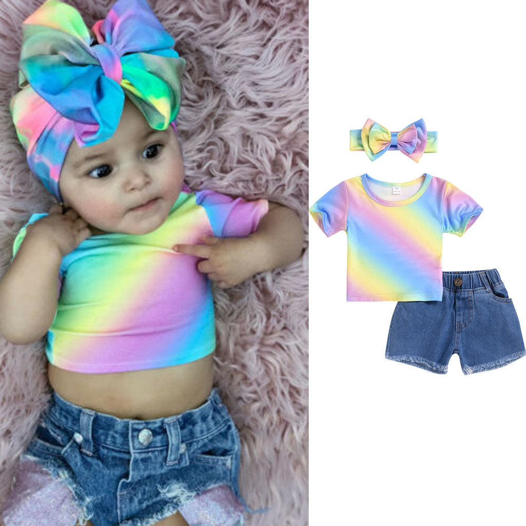 Toddler Kids Baby Girls Outfit Rainbow T-Shirt Tops Denim Short Pant w//Headband Clothes Set