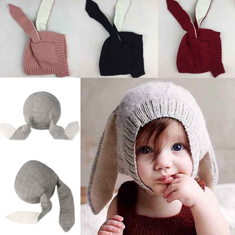 Fashion Winter Baby Toddler Kids Boy Girl Knitted Rabbit Crochet Ear Beanie Warm Hat Cap Woolen Warm Knitted Beanie Hat Thicker new baby winter crochet hat solid toddler children infant woolen cap unisex for boy and girl free shipping