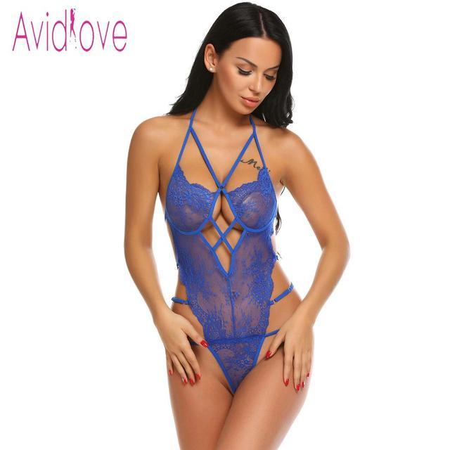 Avidlove Women Bodystocking Costumes One Piece Sexy Lingerie Bodysuit Halter Sheer Lace Teddy Nightwear 4