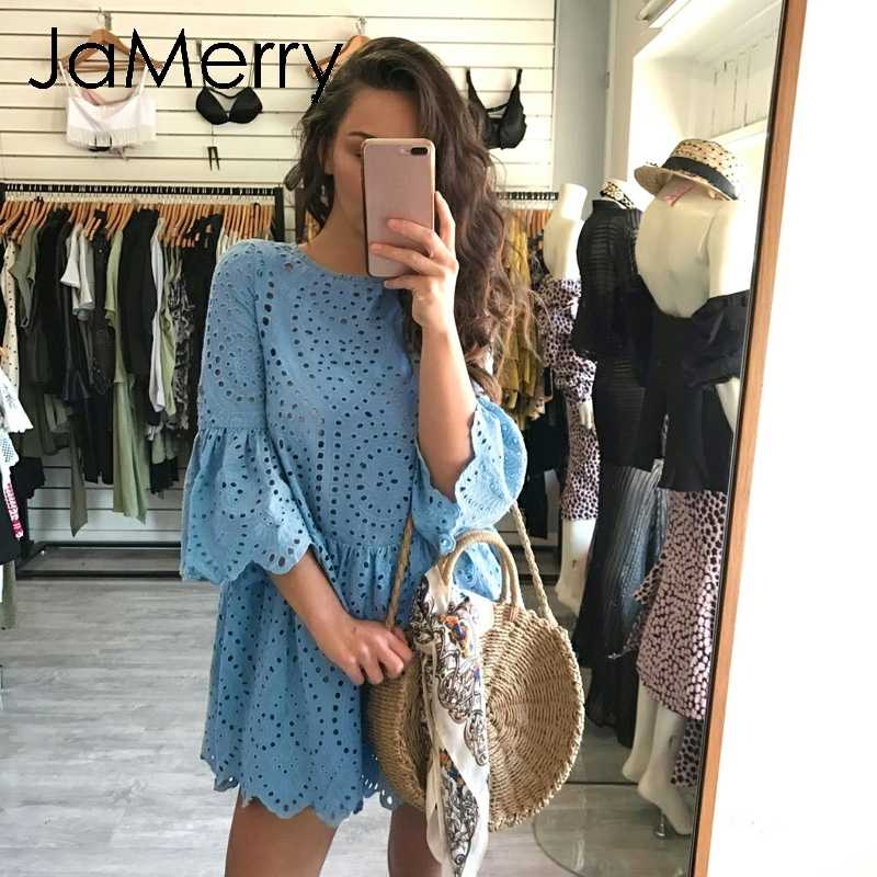 JaMerry Vintage boho hollow out women dress Elegant flare sleeve cotton female party dress Bohemian white summer dresses 2019