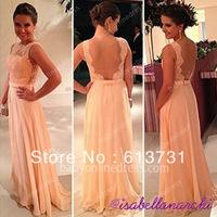 vestido de dama de honra New Fashion Wedding Party Dress Chiffon Pretty Nude Back Lace Peach Long Bridesmaid Dresses BO3396