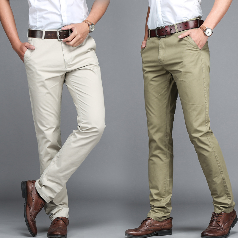 Summer Middle-aged Men high waist thin cotton Dress Trousers Straight Business Casual Pants Solid Khaki Black Pants size 29-42