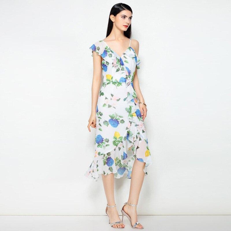 d860bf41879 Robe De Floral Courtes Femmes D été Manches Imprimé À Haute Casual Sexy  Mode Qualité Asymétrique Nouvelle Ruches ...