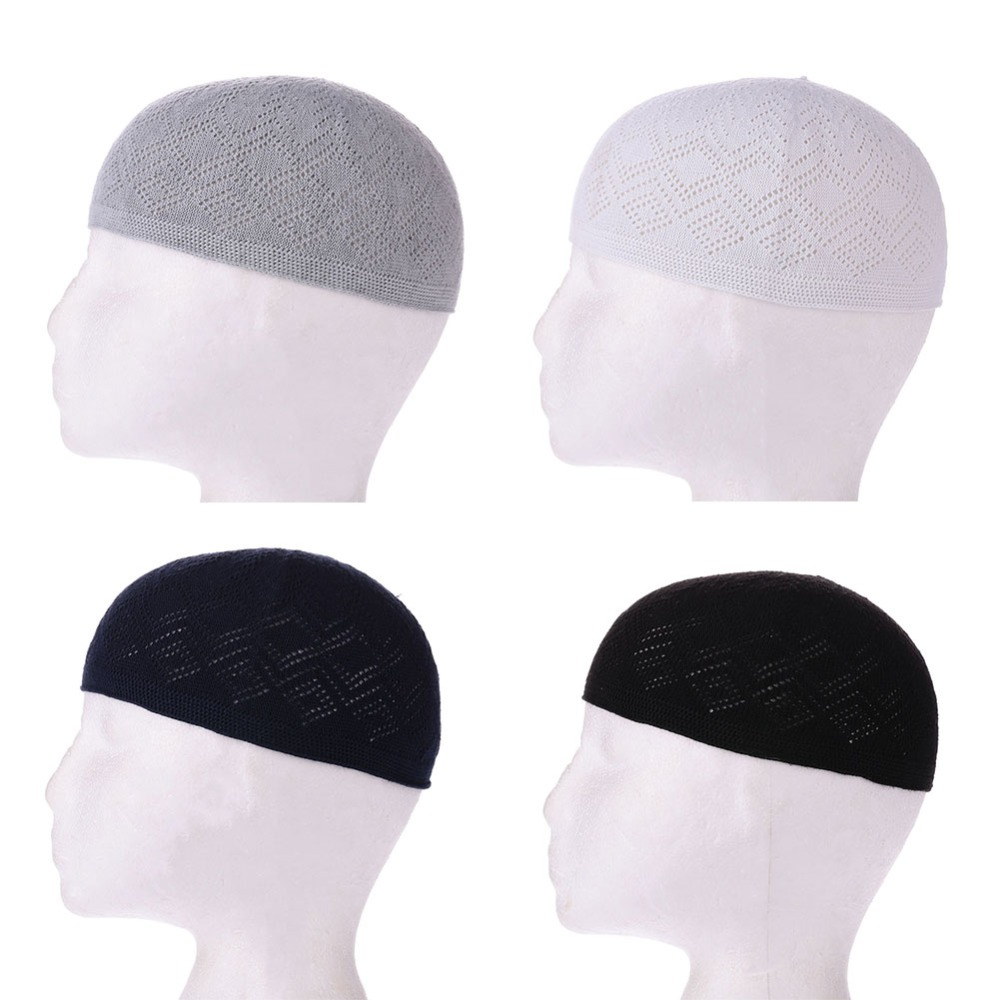 2018 New Muslim Men Prayer Hats Beanie Turkish Arabic Knitted Hat Islamic Caps Headscarf Clothing Arab Crochet Islamic Fashion