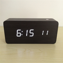 Acoustic control Calendar Alarm Thermometer Wooden clock LED display digital desk clocks with seconds xyzTime-6035-Black-Clock