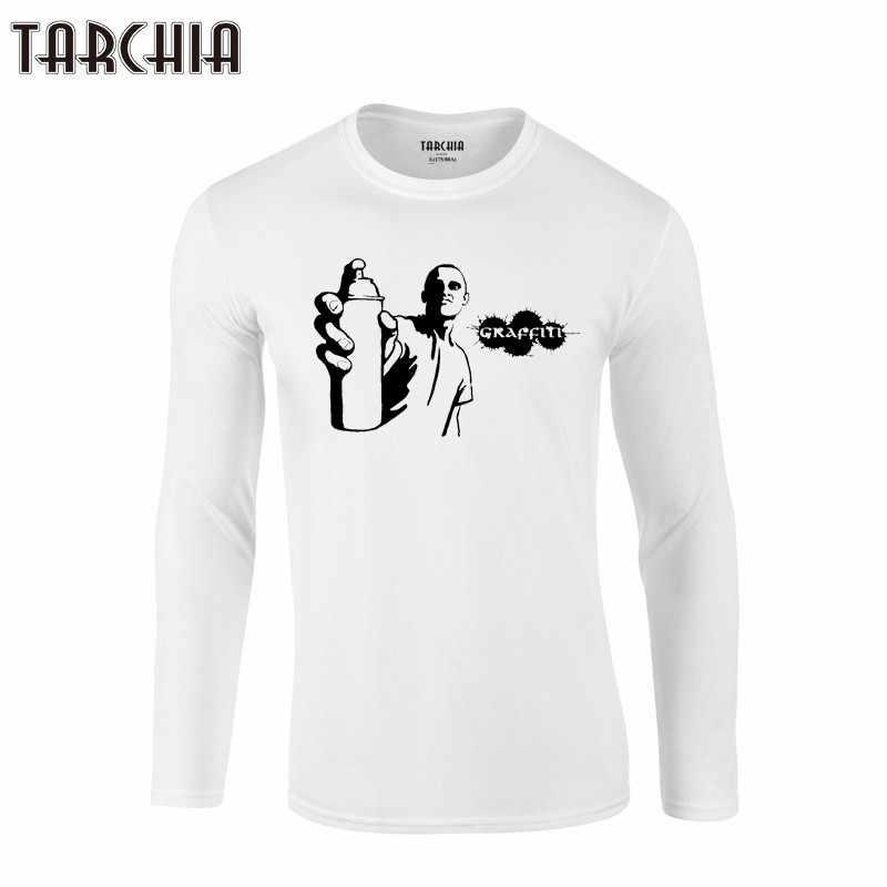 TARCHIA 2019 новая облегающая футболка с длинным рукавом для мужчин Хлопковые футболки брендовая одежда футболка мужская тренд граффити хип хоп