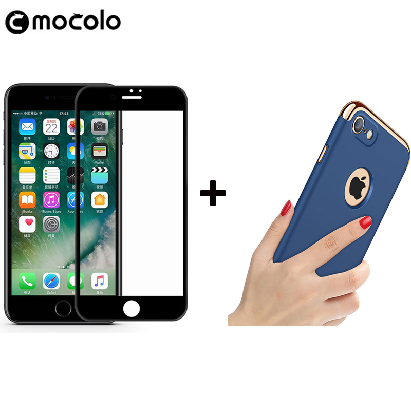 Mocolo Official 3D Curved Premium Glass for iPhone 7 3D Screen Protector for i7 Plus Glass Film with Plating 3-in-1 Phone Case