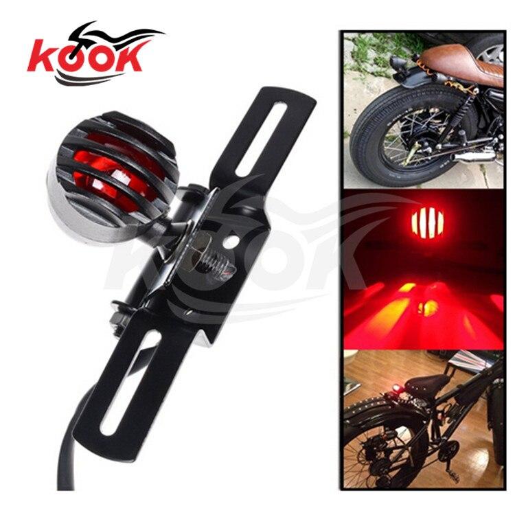 black retro moto rear indicator license plate bracket Chopper motorbike brake light for Harley LED cruise motorcycle tail light