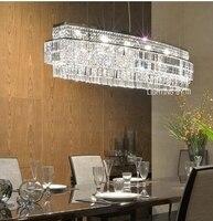 Oval em forma de grande 90 110cm barra de cristal lâmpada lustres para hotel restaurante moderno retangular k9 lustre de cristal led chandelier led led lustre restaurant chandelier -