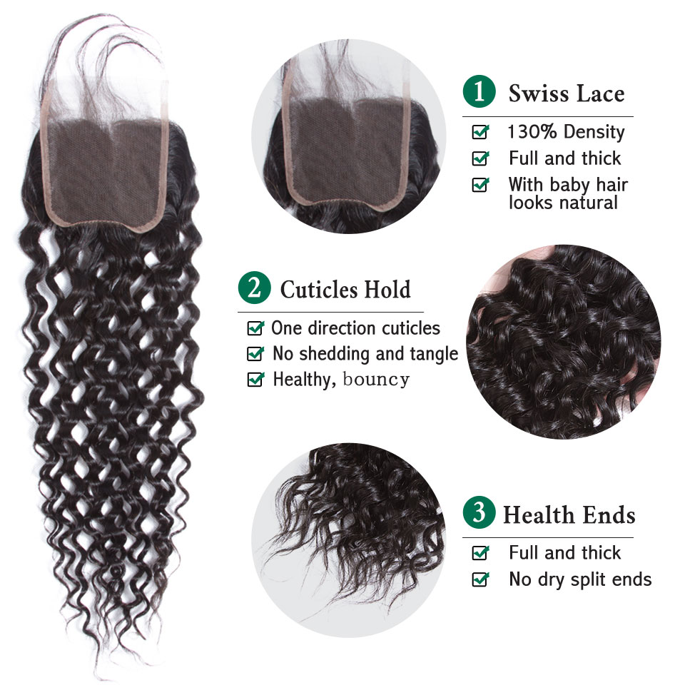 Human Hair Weaves 3/4 Bundles With Closure Strict 3 Bundles Malaysian Loose Wave With Pre Plucked Closure With Baby Hair Bouncy Curl No Shedding No Tangle Non Remy Black 1b