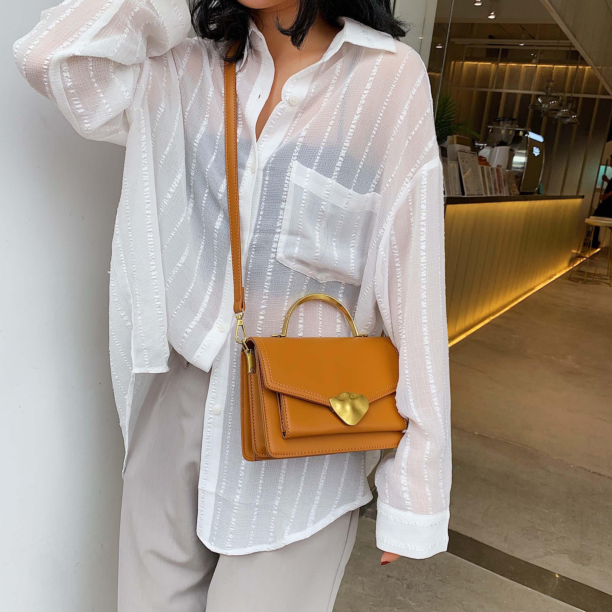 Image 4 - Simply Style PU Leather Crossbody Bags For Women Shoulder Messenger Bag Handbag Mini Tote Hand Bag With Metal Handle-in Shoulder Bags from Luggage & Bags