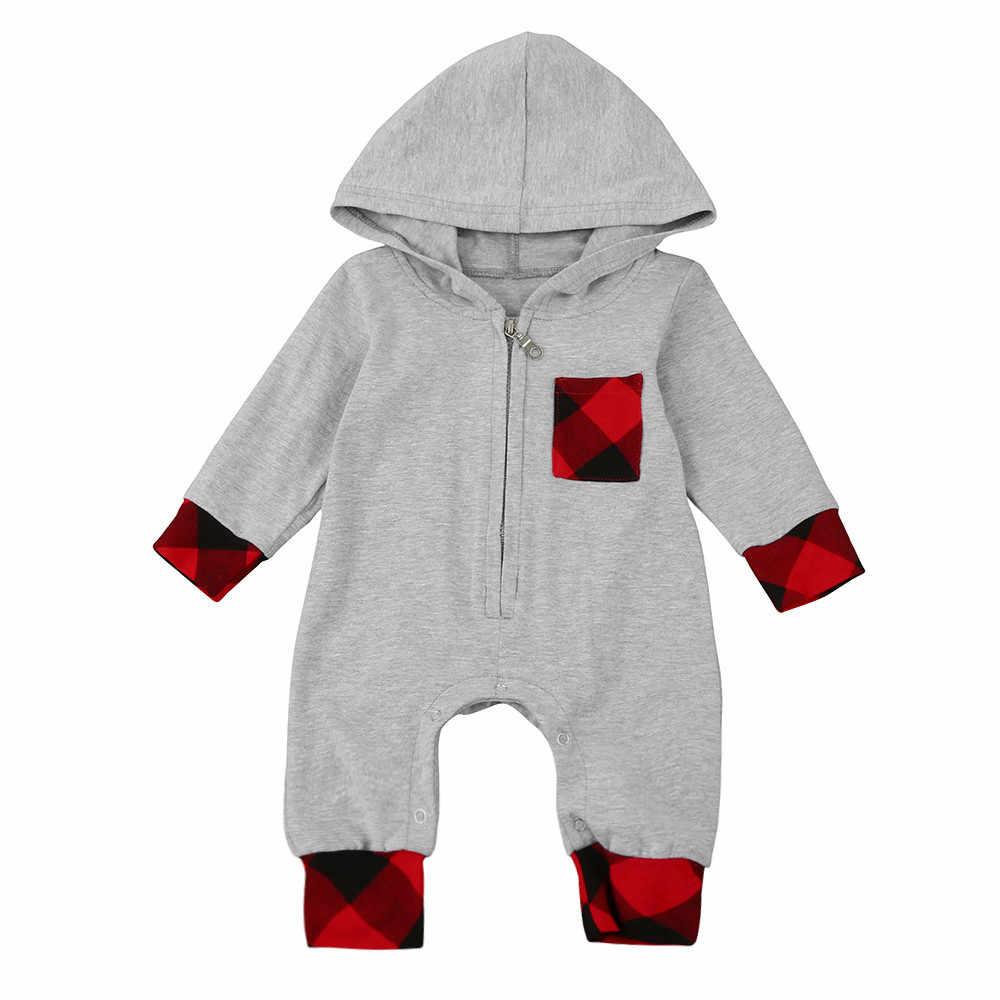 Новинка 2018 года; Модная одежда для новорожденных мальчиков и девочек; комбинезон на молнии с капюшоном; клетчатый комбинезон; теплый костюм