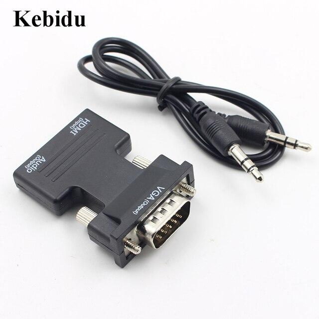 Kebidu HDMI TO VGA Female Ke MINI Adaptor Converter dengan Audio Kabel Adaptor Mendukung 1080 P Output Sinyal