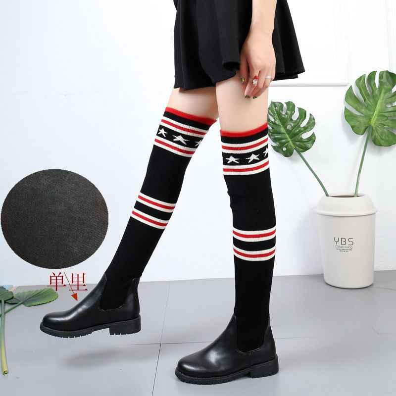 2018 แฟชั่นผู้หญิงถักเข่ารองเท้าบูทสูง Elastic Slim ฤดูใบไม้ร่วงฤดูหนาวยาวต้นขาสูงรองเท้าผู้หญิงรองเท้าขนาด 40
