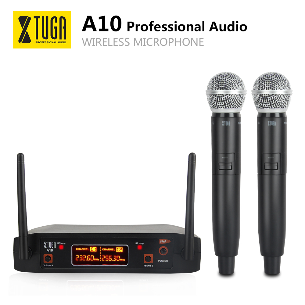 XTUGA Audio A-10 2 Channel Cordless Microphone System VHF Wireless Karaoke Microphone System 2 Mic Use For Family Party, Church