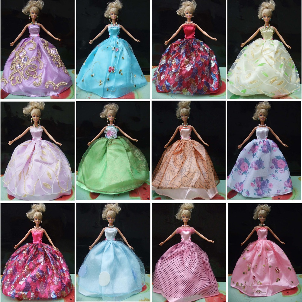 20 completely different types gown+20 pair footwear+20equipment Doll's night Robe gown Garments For Barbie doll