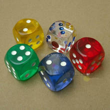 2шт 25 мм прозрачный покер, фишки, кости шестисторонний точечный Забавный кубик для настольной игры D& D РПГ игры вечерние игральные кости игровые кубики