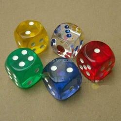 2 stücke 25 MM Transparent Poker Chips würfel Sechs Seitige Spot Spaß brettspiel Würfel D & D RPG Spiele Geschenk-parteiwürfel Glücksspiel würfel