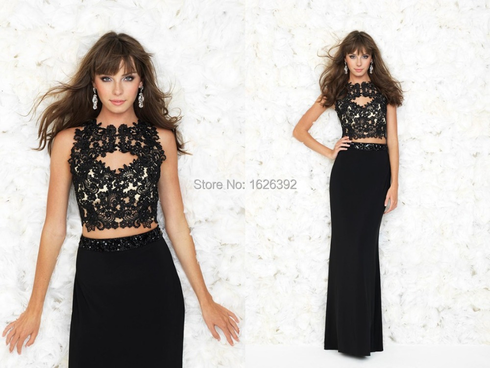 Hot Sale Black Open Back Two Piece Elegant Evening Dresses Cap ...