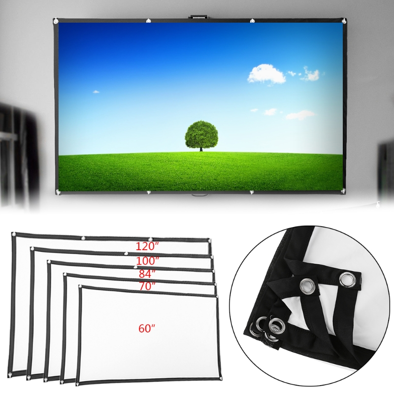 60/70/84/100/120 Projector Screen 16:9 For Home Theater Cinema Movies Party60/70/84/100/120 Projector Screen 16:9 For Home Theater Cinema Movies Party