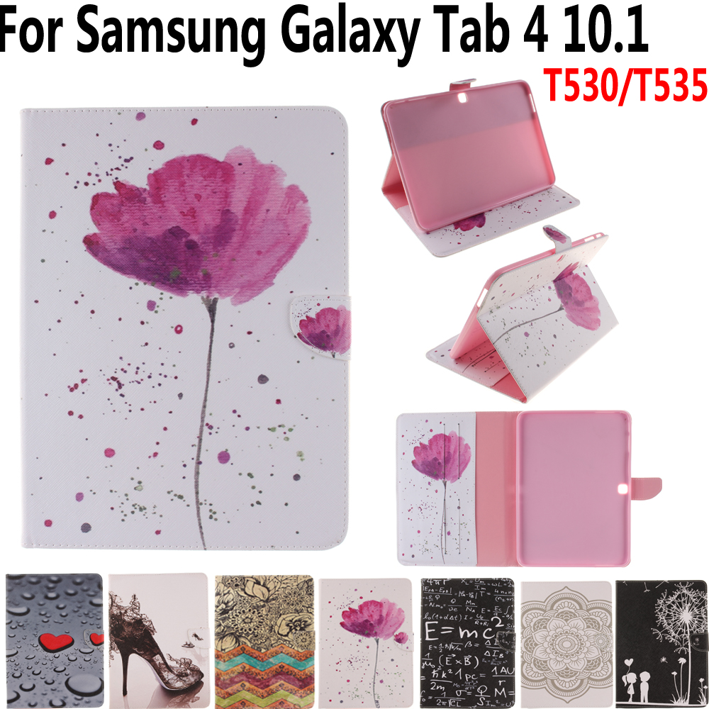 Tablet Cover Case for Samsung Galaxy Tab4 Tab 4 10.1 T530 T531 T535 Print Folio Smart Case with Stylus Pen for Samsung Tab4 10.1 retro cover for samsung galaxy tab 4 8 0 case leather t330 tablet case for samsung galaxy tab4 8 0 cover with stand holder