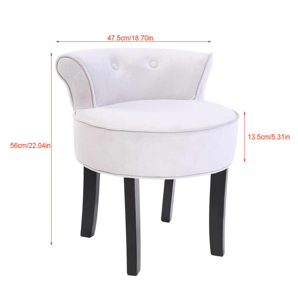 Grey Chenille Vanity Stool With Black Legs Bedroom Dressing Chair