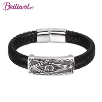 Beiliwol Black Genuine Leather Bracelet For Men Magnetic Buckle 316L Stainless Steel Masonic Fashion Braided Jewelry