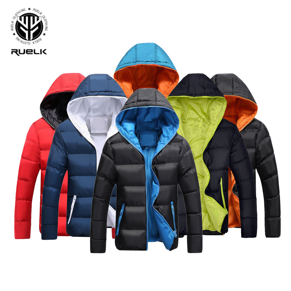 RUELK New Winter Men Jacket Warm Casual Cotton Blend Male Parka Hooded Solid Color Outerwear Fashion The North Of Face Mens Coat